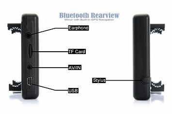 4,3 pulgadas Espejo retrovisor con Bluetooth manos libres para llamadas navegador GPS integrado de navegación GPS 4GB mapa de Europa: Amazon.es: Electrónica