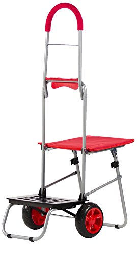 dbest products Mighty Max with Seat Personal Dolly, Red Handtruck Cart Hardware Garden Utilty