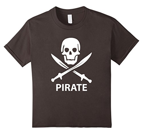 Kids Skull and Sword Pirate Costume T Shirt for Kids Simple White 10 Asphalt