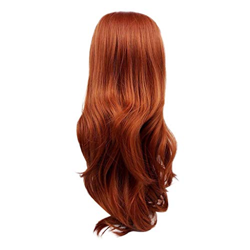 Natural Wine Red None Lace Front Wig Long Curly Synthetic Wigs for Black Women Cosplay 24.8inches (a)