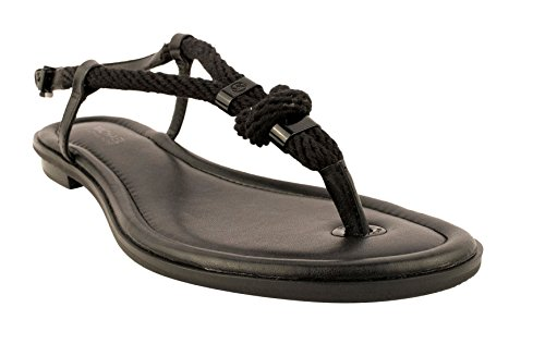 Michael Kors Womens Holly Leather Open Toe Casual Slingback, Black, Size 6.0