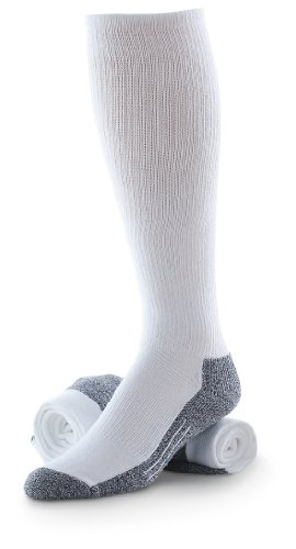 Western CoolMax Boot Socks 2 Pairs, White/Gray, 10-13