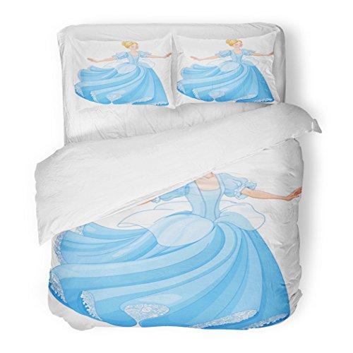 SanChic Duvet Cover Set Princess The Royal Ball Dance Cinderella Fairy Beautiful Dress Girl Decorative Bedding Set Pillow Sham Twin Size -