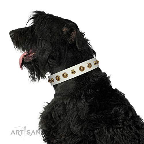 FDT Artisan 18 inch White Leather Dog Collar with Skulls and Brooches - Wondrous Venture - 1 1/2 inch (40 mm) Wide - Gift Packaging Included
