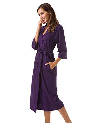 Sioro Cotton Robes Soft Kimono Robe Long Knit Bathrobe