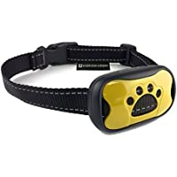 Dog No Bark Collar - Anti Barking Vibration Control Device for Small Medium Large Dogs - Puppy Training Deterrent - No Shock - 2018 Model - Fast Results! Yellow