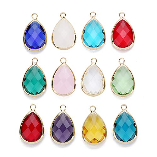 Linsoir Beads 6 pcs Small Teardrop Gemstone Pendant Moonstone Citrine Quartz Rose Quartz Amethyst Bezel Pendant for Necklace Making 13.5X22mm