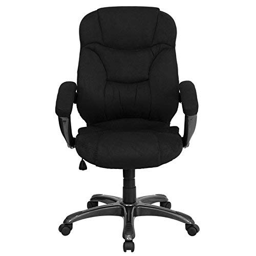 Flash Furniture High Back Black Microfiber Contemporary Executive Swivel Chair with Arms