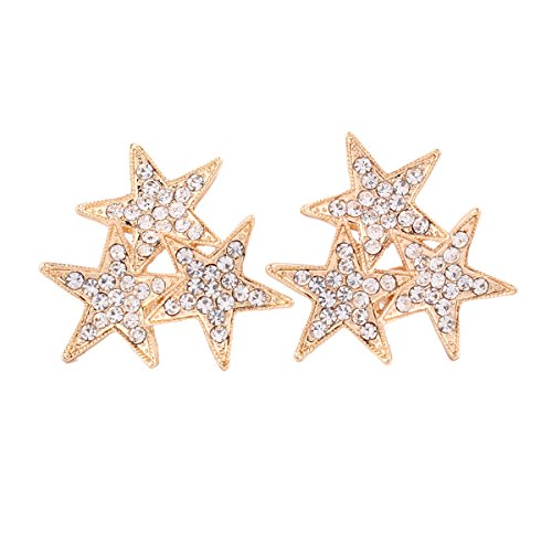 ive-pointed Star Clip Earrings Non Piercing Rhinestone Earrings (gold plated) ()