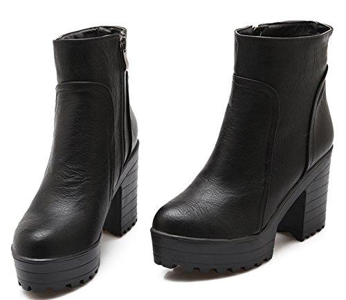IDIFU Womens Fall Zip Up Platform Chunky Heel Martin Ankle Booties Black VbYO6m