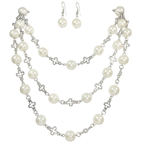 3 Row Layered Imitation Pearl Beaded Necklace And Earrings Set (Squared cross Silver - Set Beaded Necklace Cross