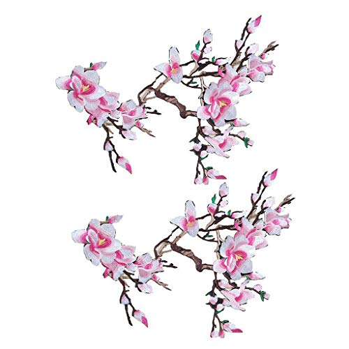 2/6Pcs DIY Embroidered Flower Applique Sew on Patch Clothes Fabric Sticker Badge | Color - 2Pcs Magnolia Pink