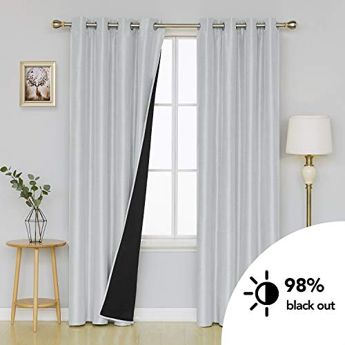 Deconovo Dupioni Faux Silk Lined Thermal Insulated Grommet Blackout Curtains Lined Curtains for Living Room 52W x 84L Inch Greyish White 2 Panels