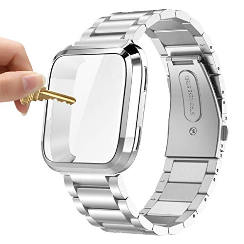 Maxjoy Compatible with Fitbit Versa Bands, Stainless Steel Band Large Small Solid Metal Bracelet Wristband with Protective Cover Case with Men Women, Compatible with Fitbit Versa Smart Watch, Silver