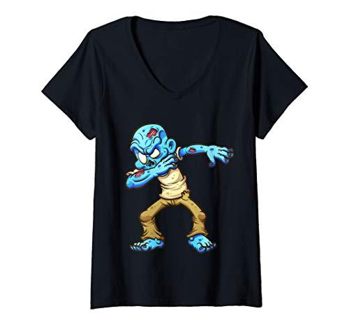 Womens Dabbing Zombie Funny Halloween Gift Idea shirt for Boys Kids V-Neck T-Shirt
