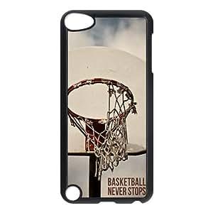 LeonardCustom Hardshell Slim Cover Case for iPod Touch 5 (5th Generation), Basketball Never Stops