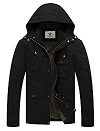 WenVen Men's Casual Hooded Cotton Military Jacket