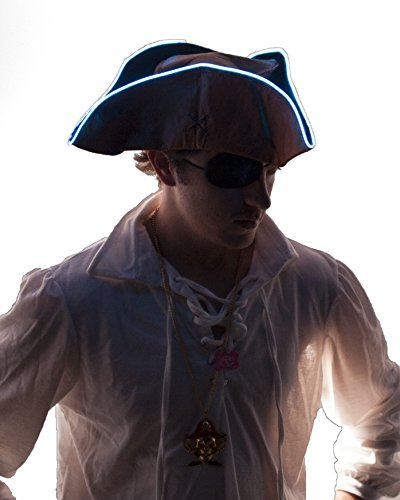 [Light Up Pirate Hat (White)] (Light Up Costumes For Adults)