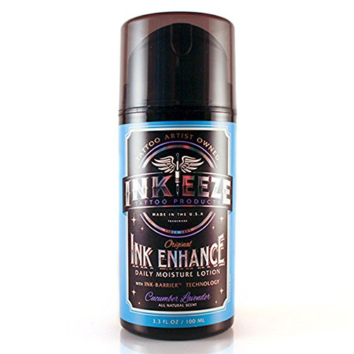 INKEEZE Ink Enhance Tattoo Daily Moisturizing Lotion 3.3 Ounce - Cucumber Lavender Natural Scent - UVA/UVB  Protection