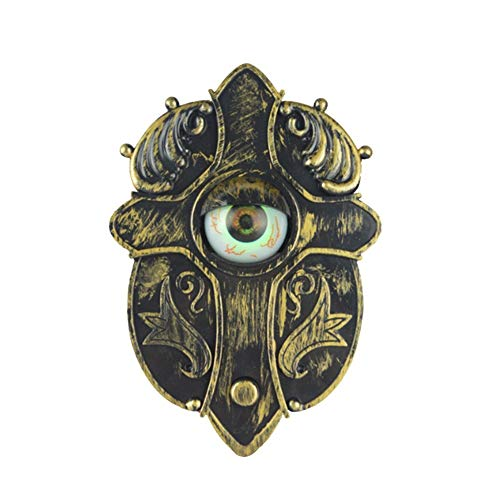 TRENTON Halloween Door Bell Decor, Animated Eyeball Doorbell Decorations Outside, Scary Light Up Animatronics Witch Prop -