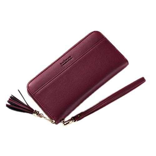 Design Women Wallets And Purses Long Clutch PU Leather Wallet Wallet Coin Purse Phone Bags Burgundy