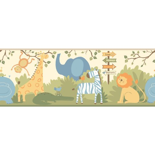 (York Wallcoverings ZB3206BDSMP Boys Will Be Boys II A Day At The Zoo 8-Inch x 10-Inch Memo Sample Wallpaper-Borders, Warm Cream )