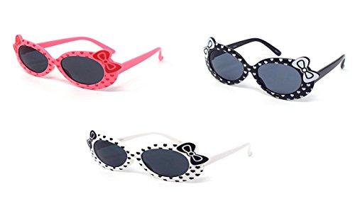 1 x Black 1 x Pink 1 x White Coloured Childrens Kids Girls Stylish Cute Designer Style Sunglasses with a Bow and heart Style UV400 Sunglasses Shades UVA UVB - Uk Sunglasses Eyelevel