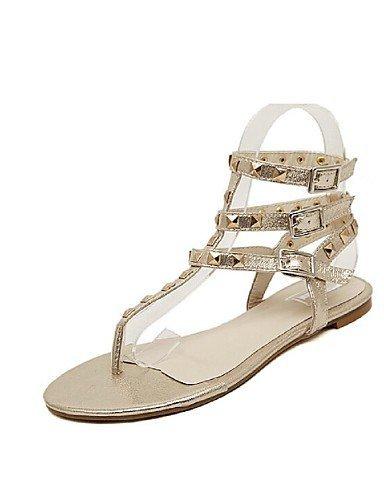 ShangYi Womens Shoes Flat Heel Flip Flops/Open Toe Sandals Casual Silver/Gold golden