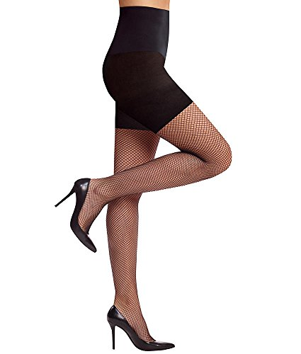 - Commando Perfect Fishnet Control Top Pantyhose, L, Black