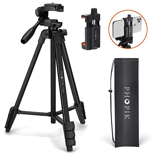 PHOPIK Lightweight Phone Tripod 55-Inch, Video Tripod with 360 Panorama and 1/4″ Mounting Screw for Mirrorless/Gopro/DSLR Camera, Phone Holder for Smartphone, Max Load 6.6 Lbs, Carry Bad Inclued.