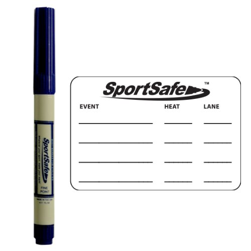 MeetMinder Youth Swimmer Event Tracking System - One SportSafe Ink Skin Marker Plus 12 Temporary Tattoo Event Templates
