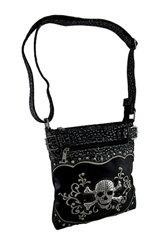 Embroidered Over Shoulder Bag - Rhinestone Skull Embroidered Foil Finish Concealed Carry Crossbody Purse