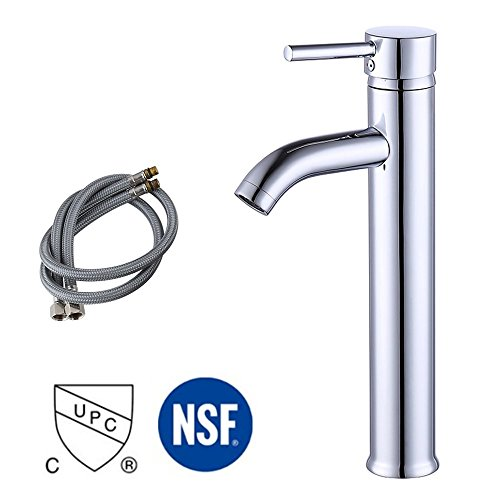 Hole Washbasin Faucet - KES cUPC NSF Certified BRASS Faucet Bathroom Sink Brass Single Hole Single Handle Lavatory Faucet Wash Basin Faucet Tap Lead-Free, Polished Chrome, L3100BLF-CH