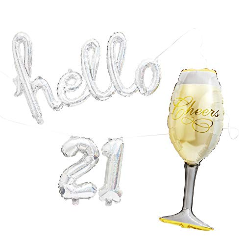 Juvale 21st Birthday Foil Party Balloons, Hello 21 and Champagne Glass