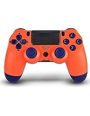Controladores sem fio para PS4 - remoto para DualShock 4, controle de jogo compatível para Playstation 4, controlador sem fio Midnight Blue com cabo de carregamento (laranja)