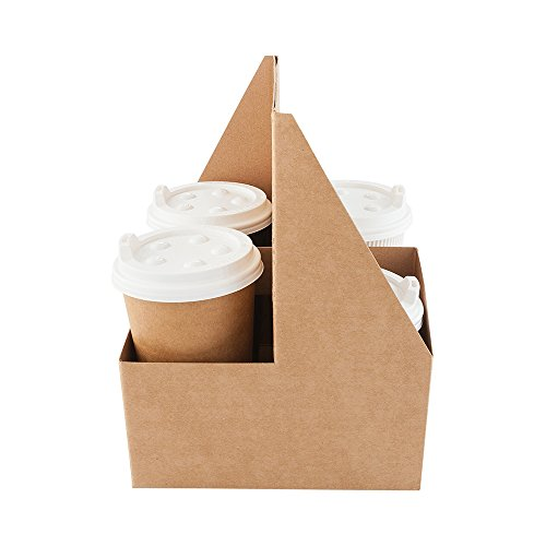 Paper Drink Carrier, Coffee Cup To Go Carrier, Cup Holder with Handle - Holds 4 Cups - Kraft - 100ct Box - Restaurantware