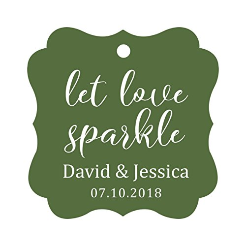 Darling Souvenir Personalized Fancy Frame Paper Tags Wedding Sparklers Let Love Sparkle Custom Hang Tags-Olive Green-50 Tags