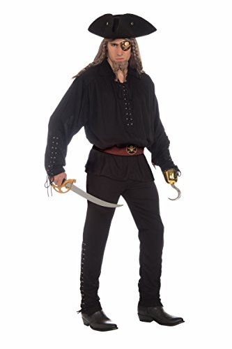 Adult Costumes Black Male Pants (Forum Novelties Men's Buccaneer Costume Pants with Grommets, Black, One)