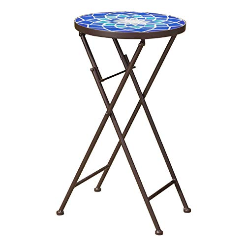 GDF Studio 301160 Arwen Outdoor Blue and White Glass Side Table with Iron Frame, Red-783 - Glass Outdoor Frame
