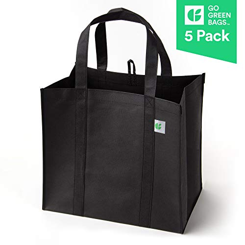 Reusable Grocery Bags (5 Pack, Black) - Hold 40+ lbs - Extra Large & Super Strong, Heavy Duty Shopping Bags - Grocery Tote Bag with Reinforced Handles & Thick Plastic Bottom for Strength -