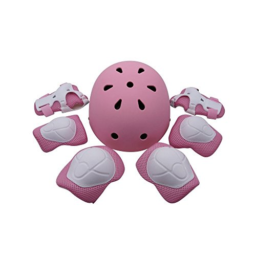 ZCS-Shop Kids Multi-Sport Helmet with Knee&Elbow Pads and Wrists, 7 Pieces Kids Boys and Girls Outdoor Sports Safety Protective Gear Set for Skateboard Cycling Skate Scooter … (Pink)