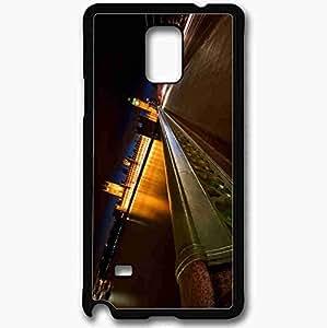 Unique Design Fashion Protective Back Cover For Samsung Galaxy Note 4 Case London River Bridge Night Black