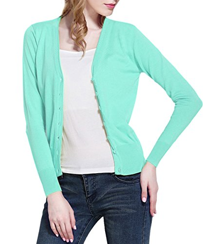 Fashion Femme Uni Vert Gilet Clair Aj dnvwx47d