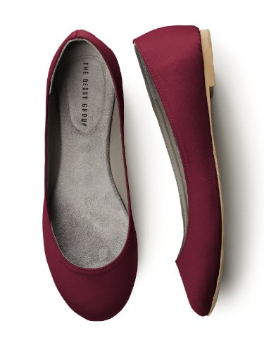 Matte Satin Rhinestone Shoe - Dessy Women's Simple Satin Ballet Flat Burgundy - Size 11