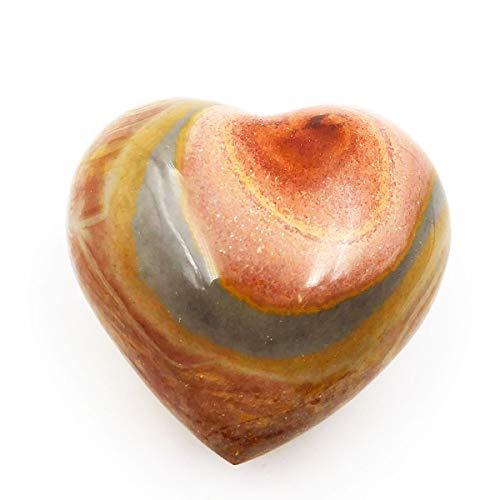 Jasper Crystal Ocean (favoramulet Natural Ocean Jasper Puff Heart, Polished Palm Worry Love Pocket Stone Healing Crystal 2.2