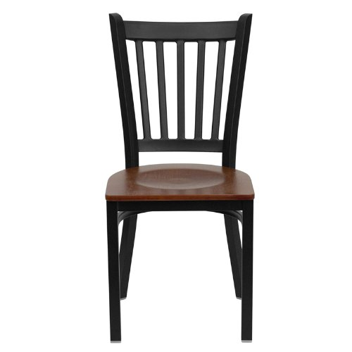 Flash Furniture HERCULES Series Black Vertical Back Metal Restaurant Chair - Cherry Wood Seat by Flash Furniture (Image #3)