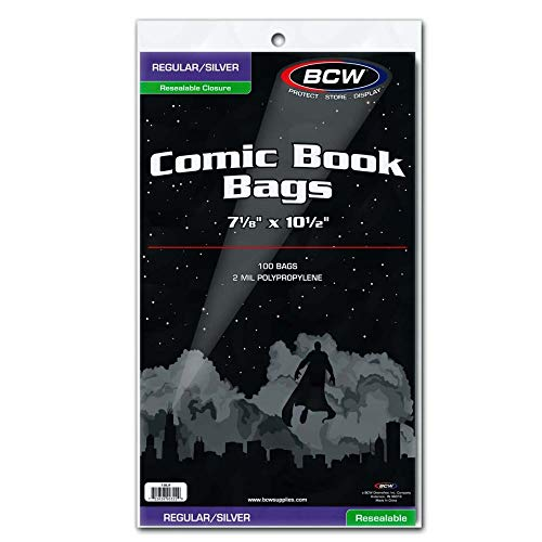 BCW Resealable Silver/Regular Comic Book Bags, Clear 2-mil Polypropylene | 7-1/8