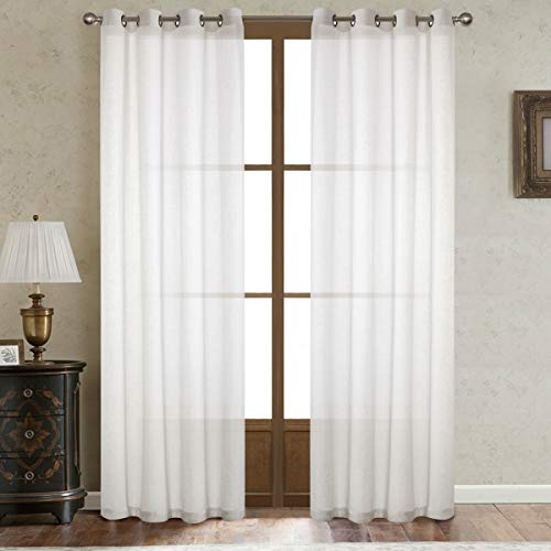 (Dreamig Casa White Linen Sheer Curtains for Bedroom,Solid Semi Sheer Grommet Top Two Panels for Living Room (2 Panels, 52''W x 108''L))