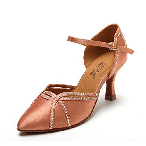 Tobillo 35 Cuero Zapatos de Modern Baile Zapatos Brown Alto de Latino de Sandalias Jazz Baile Damas de Latino Samba Zapatos BYLE Tacón Baile de gqvwtnE6xI