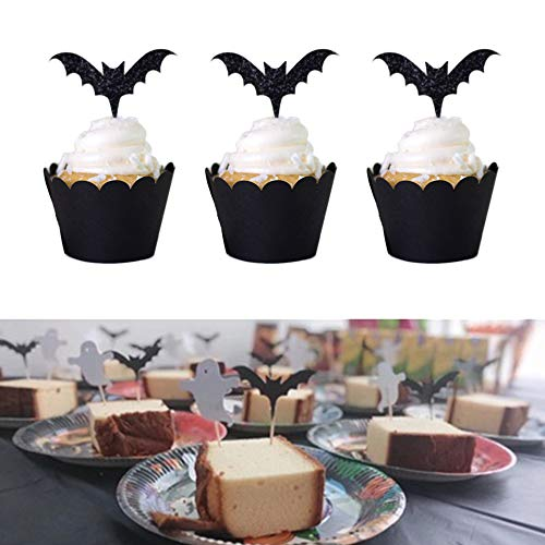 Fashionclubs 48pcs Halloween Bat Cupcake Toppers Wrappers,Halloween Cupcake Wraps Liners Cupcake Picks Food Picks Food Toothpicks Cupcake Muffin Toppers for Halloween Party Cake Decoration